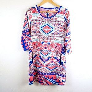 GB Size Sm Western Tribal Pullover Shift Dress